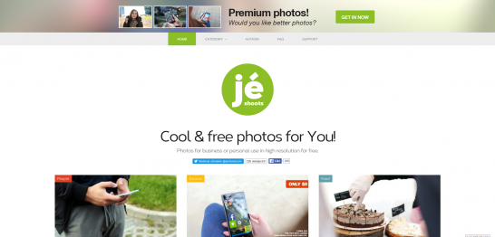 Je Shoots provide a simple grid interface to browse a fair selection of photos free for commercial and personal use